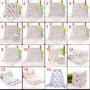 15 estilos Baby Muslin Swaddles 100% algodón Mantas Ropa de cama para bebés Recién nacido Swadding Toallas de baño 120x120cm para niños pequeños Ropa de cama para bebés