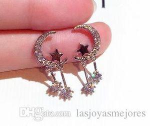 مصمم الأزياء الماس الزركون التألق لطيف جميل القمر نجمة قلادة تتدلى الثريا أقراط للمرأة الفتيات
