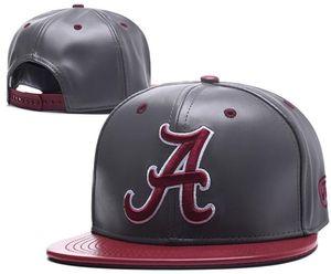 Alabama Crimson Tide Snapbacks Cappellino da calcio NCAA College Cappellino regolabile nuovo Cappellino di pelle football americano Rosso 01