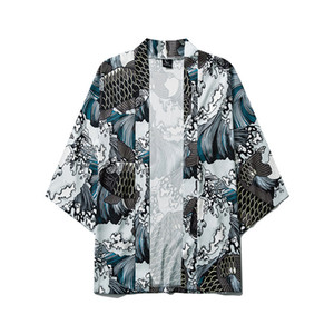 Mens japonês Kimono Jackets Koi grande onda Harajuku Hip Hop Masculino Japão Streetwear Jacket Verão Fina roupas soltas Kimono