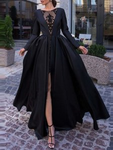 Unique Design Lace Appliques Mini Skirt Satin Prom Gown Long Sleeves Side Split Evening Dress robe de soir for Special Occations Custom Made