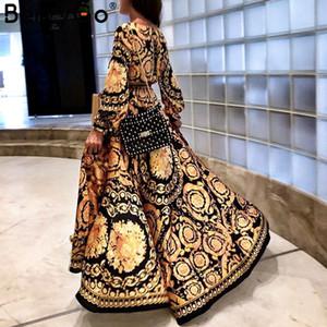 BerryGo Vintage dividido en oro vestido de navidad Mujer invierno elegante estampado maxi vestido manga larga Otoño fiesta suelta boho sexy