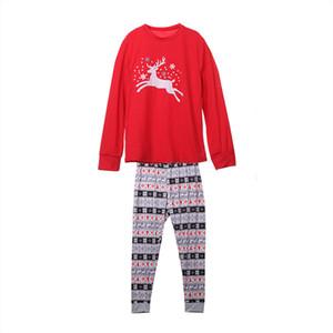 Couple sommeil Vêtements ADULTE Joyeux Noël Pyjama renne pleine manches Imprimer pyjamas Ensembles vêtements de nuit de nuit Costume pas cher