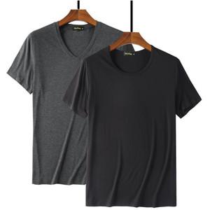 Raffreddare T shirt Moda Uomo il 95% in fibra di bambù Hip Hop vuoto di base maglietta bianca per modo del Mens maglietta estivo Top Tee Tops Plain Nero