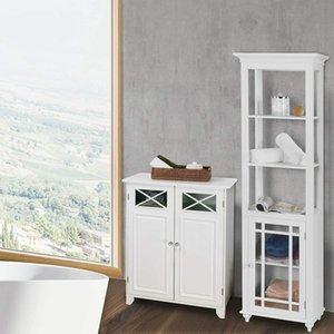 White Wooden Bathroom Floor Cabinet Storage Cupboard W  Shelves Free Stand