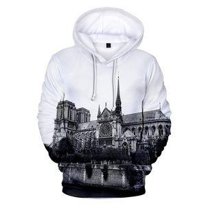 Notre Dame de Paris Hoodies 3D Tops imprimés Hommes O-Neck desserrées Sweats Vêtements femme causales