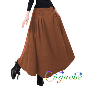 2019 Autumn And Winter Plus Size Retro Vintage Fashion Casual Wool Woolen Female Maxi Pleated a line Long Skirts Womens