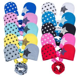 cappello autunno e sciarpa per bambini stagione invernale stampato il cappello del knit tre pezzi cappello sciarpa del bambino stella tre pezzi T3I5189