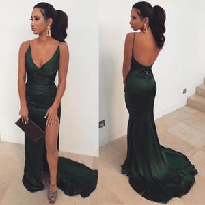 Günstige Sexy Riemen Spaghetti Hunter Green Mermaid Prom Dresses 2019 Lange rückenfreie Seite Split Abend Brautjungfer Kleider BM0660