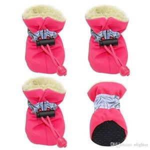 Zapatos del perro de invierno zapatos del animal doméstico impermeables para perro caliente, coloque los zapatos de lluvia Botas Calcetines perro Pet 4pcs