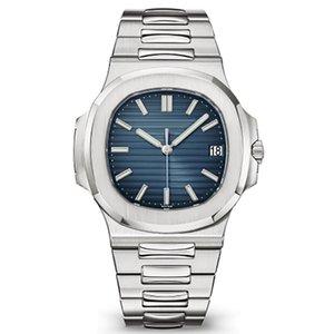 2020 Mens relojes automáticos 40MM Nautilus reloj 5711 de la correa de plata para hombre blanco Orologio inoxidable mecánico di Lusso Reloj Chrono Fecha
