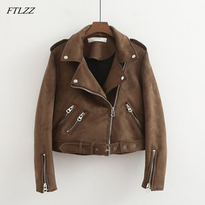 FTLZZ New Faux Suede Womens Motorradjacke Herbst Faux Leather Jacket Female Mit Gürtel Slim Short Biker Coat