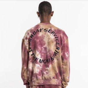 Граффити Письмо печати Толстовка Мужчины Tie Dye Пуловер толстовки вскользь Hip Hop Streetwear Hoodie Tops