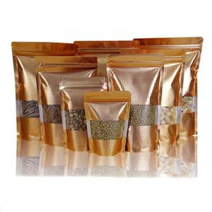 Gold Silver Stand Up Aluminio Bolsa de aluminio con ventana transparente Cremallera Paquete superior Bolsa de café Tuerca Dulce Paquete de almacenamiento Bolsa QW9758