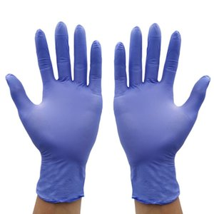 100pcs Luvas / Embalagem descartável de borracha nitrílica durável luvas grossas de limpeza de protecção de lavagem Laboratório Anti-estático luvas azuis por atacado