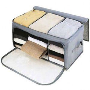 58 x 36 x 30 centímetros dobrável prova de umidade não-tecido saco de armazenamento guarda-roupa armário de roupas Organizer - T200420 Grey