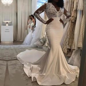 2019 винтаж с длинным рукавом V-образным вырезом кружева и Атлас Русалка свадебные платья новое прибытие плюс размер рябить длинный поезд молния назад Bridals платье