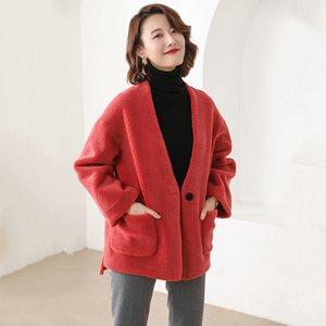 Orsacchiotto Coat Donne Composite Shearling Lamb Fur Coat Donne Abbigliamento Giubbotti di lana pelliccia con pelle scamosciata del Faux Leather Liner