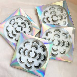 가짜 밍크 5D 가짜 밍크 속눈썹 같은 스타일 하나 Trayes 포장 홀로 그래픽 래쉬 7 쌍 꽃 래쉬 트레이