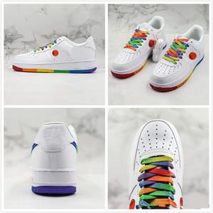 2020 1 1s 07 Sole cuscino taglio basso Arcobaleno bianche di pallacanestro Designer scarpe traspiranti piattaforma della donna degli uomini di tendenza di sport della scarpa da tennis