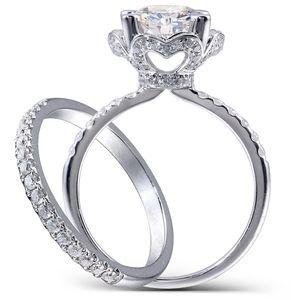 Anillo de bodas Centre 2,5 quilates F incoloro corte redondo Moissanite conjunto de engranaje de laboratorio y detalles de diamantes sólido 14K Mujeres 2 Piezas Y200620