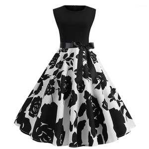 Floral Womens Bow Tie Partido mangas do vestido elegante Vingate vestido estampado Moda Hepburn estilo Vestidos de linha com
