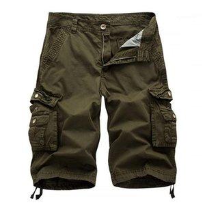 Designer de Verão Shorts Pants Moda cor sólida Pockets Tamanho do Joelho masculino calças cargo Casual Masculino Vestuário Mens