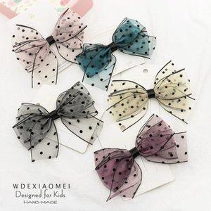 clips de moda cabelo arco Crianças Headwear Grampos Handmade Gauze Dot Bowknot Pino de cabelo Barrettes Acessórios para Mulher Meninas