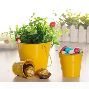 A 50pcs Colorful Mini Tin Pail Bucket, Candy Gift Favours Package Tinplate Box for Wedding Party Souvenirs Gift for Guest 3 Size W