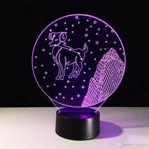 Настроение лампы LED Творческий Aries 3D Night Light USB Спальня прикроватный сна Освещение Декор Luminaria Sheep Настольная лампа Подарки