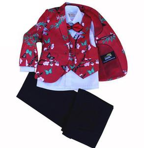 Kids Birthday Wedding Suits 4pcs Jacket + Vest + Pant +Tie Clothing Set Flower Boy Formal Dress Tuxedo Piano Performance Costume