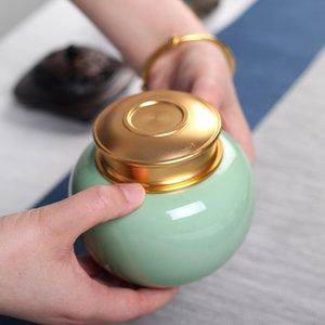 350ML Classical Small Stopper Ceramic Bottles Tin Pot Jar Containers Oil Wax Cream Sealed Storage Box Porcelain Tea Box Jars