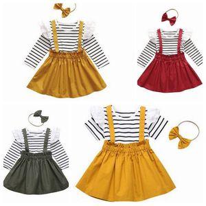 Kids Clothes delle ragazze maglietta della bretella gonna arco fascia dei capelli 3Pcs Set Stripe Lace bambino shirt Sling Gonne Bowknot HairBand Outfits ZYQA475