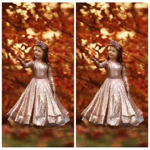 Длинные рукава Блестки цветок девочки платья 2020 New Rose Gold Длинные Дети Формальное партии Wear Дешевые причастие День рождения партии платья