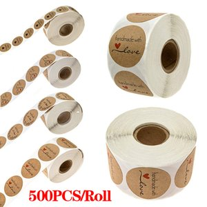 500pcs Inch Round Natural Kraft Handmade with Love Stickers thank you stickers for wedding decoration party decoration Stickers