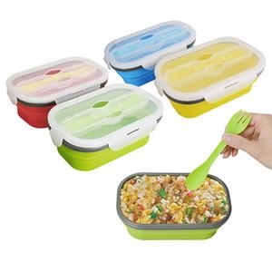 Camping en plein air Bento Box respectueux de l'environnement Bol à salade pliant 800ml Silicone de catégorie comestible pliable Grand Lunch Box avec fourchette H0513 T03