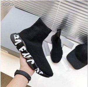 2020 boa qualidade Black Speed Trainer Shoe Casual Man Woman Sock Botas Com Box Stretch-Knit Casual Botas raça Runner baratos sapatilha High Top