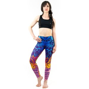 Women Blue Printing Leggings Sexy Workout Elasticity Pants Fitness Stretch Slim Bottoms Slim Fit Ankle Length Yoga Pants