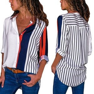 Women Blouses Color Block Striped Shirt Elegant Office Lady Blouse Casual Long Sleeve Button Shirt Tops Chemise