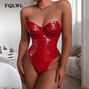 FQLWL Off Shoulder Pu Leather Bodysuit Women Summer Bodycon Backless Red Bodysuit Ladies Skiny Black Bodysits 2019 Y200401