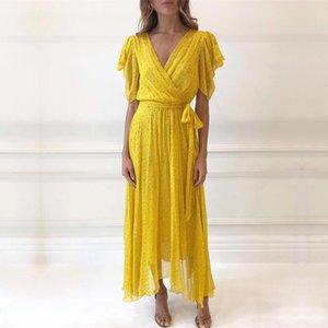 2019 Sommer-Designer Frau Maxi-Kleid mit tiefem V-Ausschnitt mit hohen Taille Schärpen Punkte Gelbes langen Kleid Ferien Urlaub Vestidos