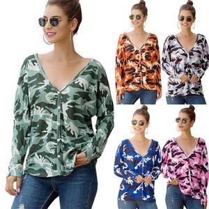 Do pescoço solto manga comprida Imprimir camiseta Womens Camuflagem Imprimir Cardigan T-shirt V Casual