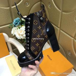 luxeconcepteur y328 2019 Nouveau top rayures imprimées de luxe de qualité bottes courtes femmes semelle épaisse Martin bottes en cuir véritable lacent sho