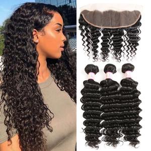 Wholesale Cheap Brazilian Deepwave Ear to Ear Lace Frontal Closure With 3Bundles lot Human Virgin Hair Weaves For Women 4pcs 4 bundels
