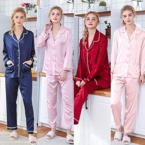 Womens Silk Satin Pajamas Pyjamas Set Long Sleeve Sleepwear Pijama Pajamas Suit Female Sleep Two Piece Set Loungewear