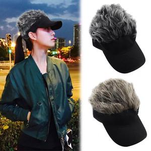 Swokii Chapéu de Sol Unisex Falso cabelo cor sólida ajustável Casual Adulto Moda Golf Cap peruca partido Mulheres Homens Verão Hat Visor