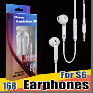 168 DHL S6 S7 auricolare auricolari J5 cuffie auricolari Auricolare per Jack In Ear cablati con volume del Mic di controllo 3,5 millimetri imballaggio al dettaglio e-EJ