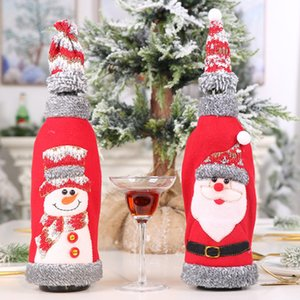 Kapşonlu Kırmızı Şarap Şişesi Küme Reklamı Parti Kumaş Kapalı Noel Dekorasyon Seti Gri Kadife 2 Renkler EEA829 Malzemeleri