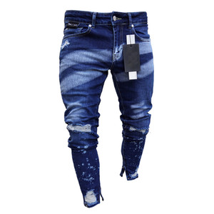 Men Fashion Hight Street Ripped Jeans Pants Streetwear Painted Distressed Denim Trousers Ankle Zipper Washed Size S-XXXL