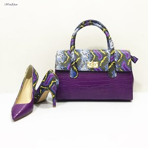 WENZHAN Purple Snake Women Soft Pumps Shoes Match Women Handbag Sets,Woman Pointed Toe Shoes With Bag A911-7